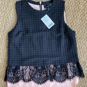 Anthropologie Top-Black & Pink with Lace-Sz SM-NWT